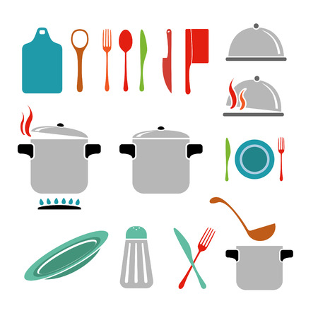 wooden lid: Kitchen vector icons set