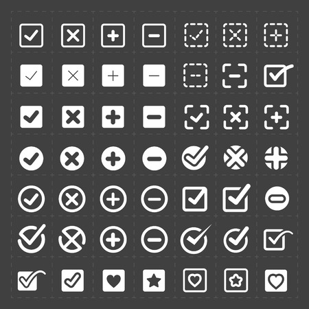 white check mark sign: Vector white confirm icons set