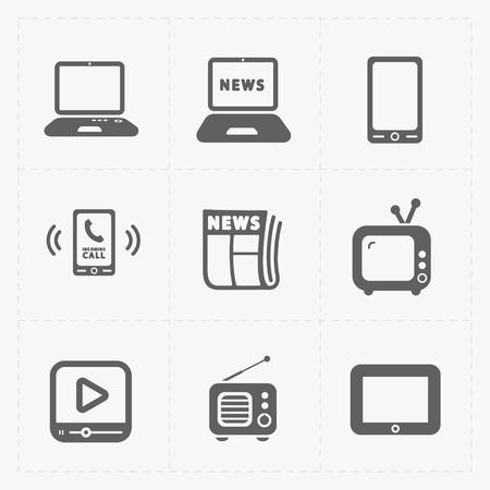 internet radio: Vector Media Icons set on white background