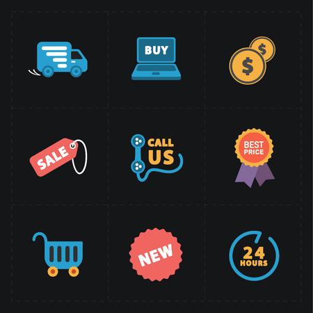 us coin: Iconos coloridos tienda planas en negro