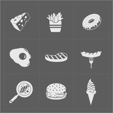 omelet: White Fast Food Icon Set on Grery Background