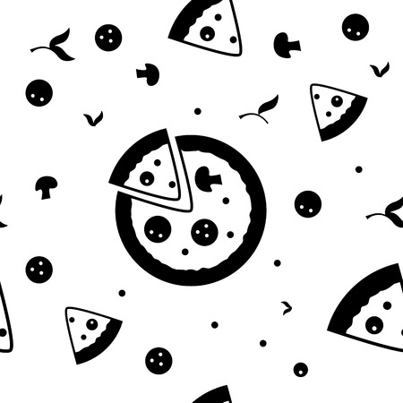 hot pepper: Pizza seamless vector pattern