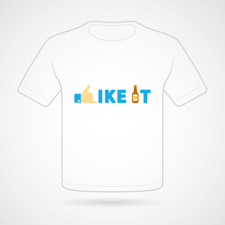 like it: T-shirt with funny print on white background. Vector  print.