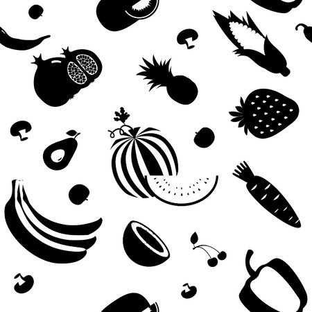 fruit and vegetable: Seamless vector fruit and vegetable pattern