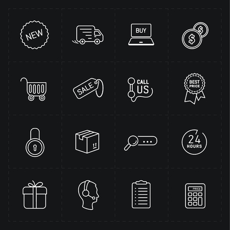 contour: Flat contour shop icon set Illustration