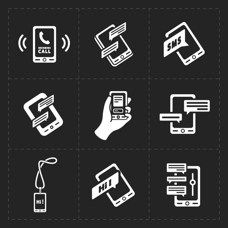 mobil phone: Vector smart phone icons on Black background Illustration
