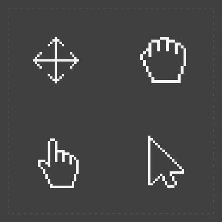 cursors: Pixel cursors icons on black.Vector Illustration.