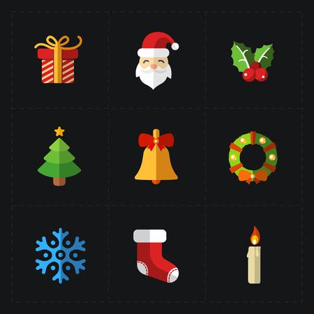 christmas candle: Christmas color icons collection - illustration.