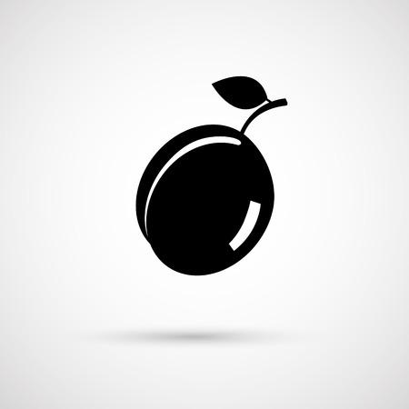 ripe: One vecor  ripe fresh plum with leaf