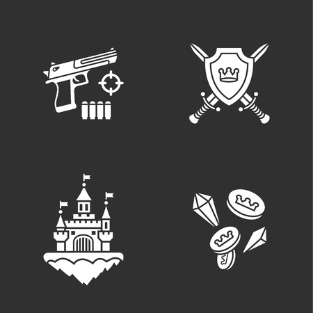 gun control: four flat game icons Illustration