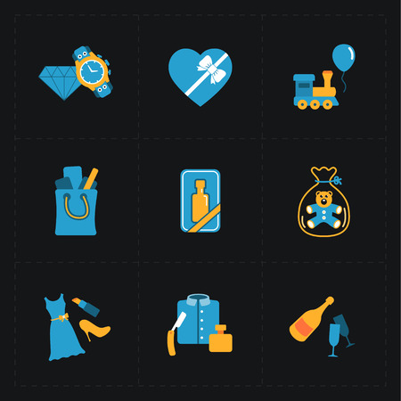 shopping champagne: Gift flat colorful shop icons on black Illustration