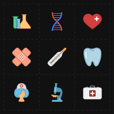 mercury staff: 9 flat medicine icons