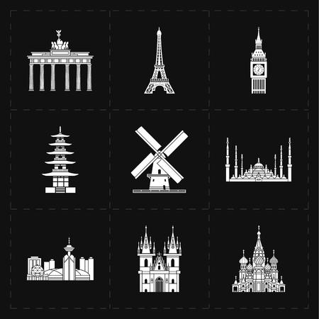 basilica: 9 flat landmark icons