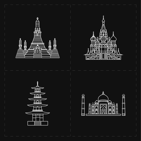 agra: 4 flat landmark icons Illustration