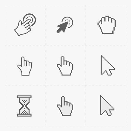 dedo: Pixel cursores iconos en white.Vector Ilustración. Vectores
