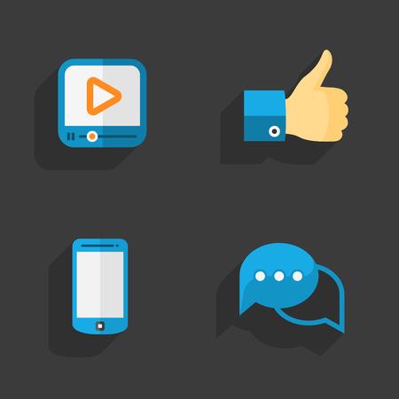 speaking tube: Modern colorful flat social icons set on Dark Background