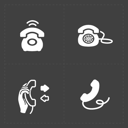 old technology: Phone icons, vector illustration.