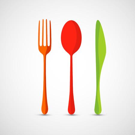 Widelec, łyżka i nóż wektorowe ikony