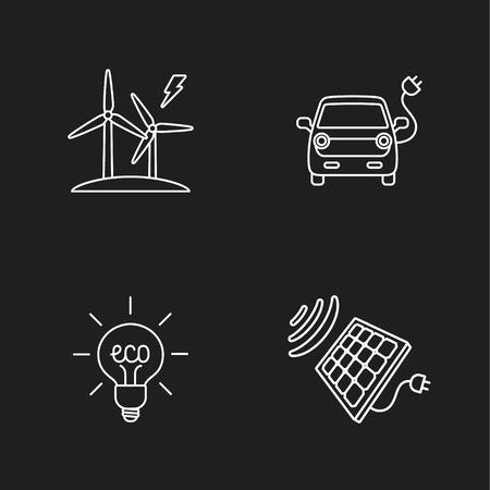 renewable: four flat eco icons