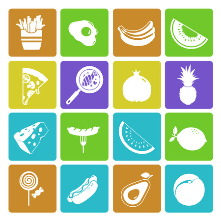 omelet: Colorful food and fruit icon set Illustration