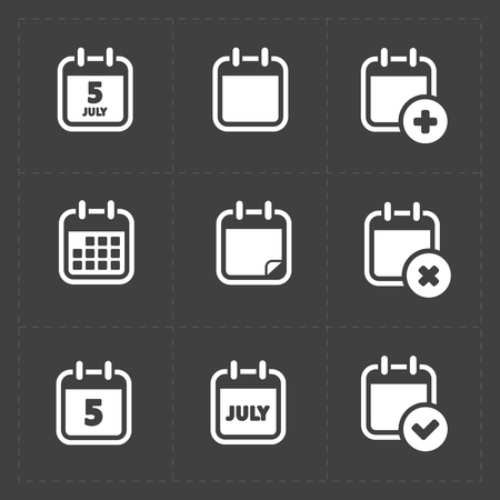 Vector White Calendar Icons Illustration