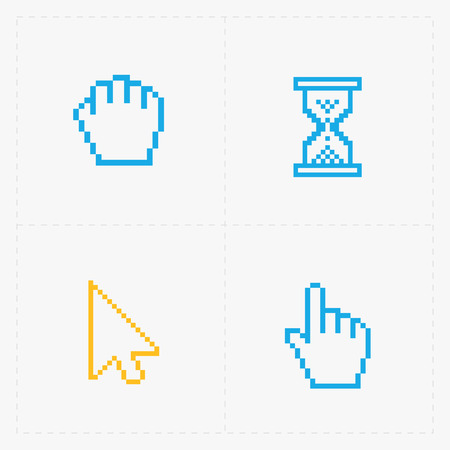 cursors: Pixel colorful cursors icons on white.Vector Illustration. Illustration