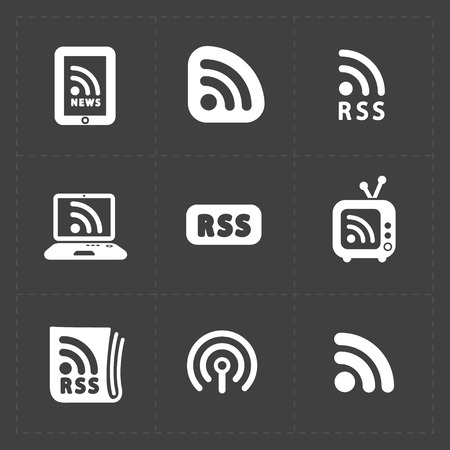 rss sign: RSS sign icons. RSS feed symbols on Black Background. Illustration