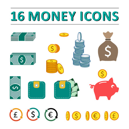 percentage sign: 16 money icons set