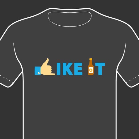 like it: T-shirt with funny print on black background. Vector  print. Illustration