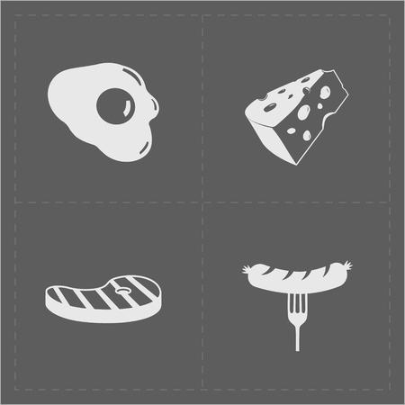 Bianco Fast Food Icon Set su sfondo Grery