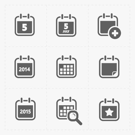 Vector Negro Iconos del calendario Ilustración de vector