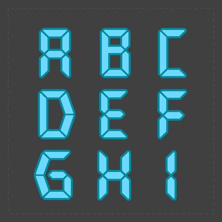 liquid crystal display: Calculator digital blue text.