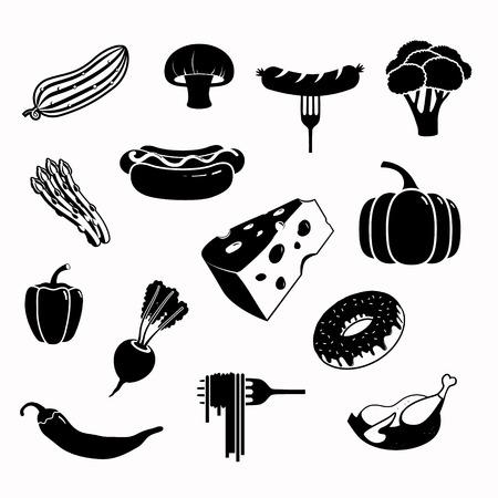 hotdog: Vector food black icon set
