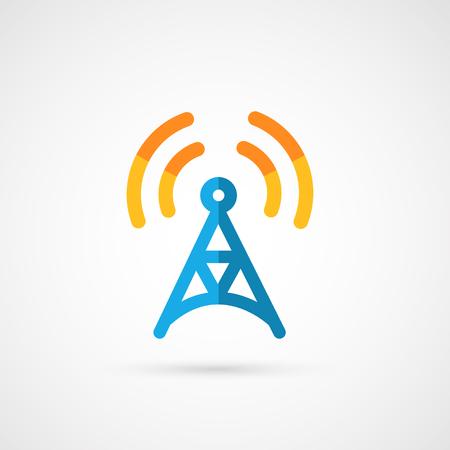 radio tower: Flat icon of radio tower.