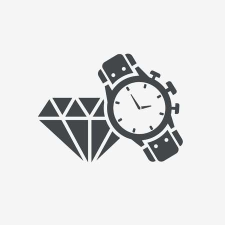 expensive: male watch and diamond icon. Expensive gifts. Illustration
