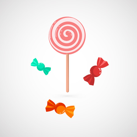lollypop: Delicious pink LollyPop and Sweet, Isolated On White Background,
