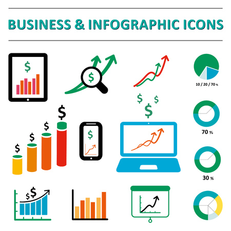 Business infographic icons Vector Illustration