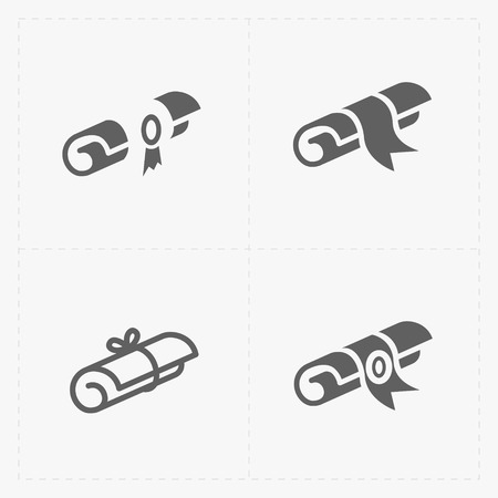 social history: Scrolls icons with ribbon on white