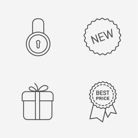 contour: Flat contour shop icon set Illustration
