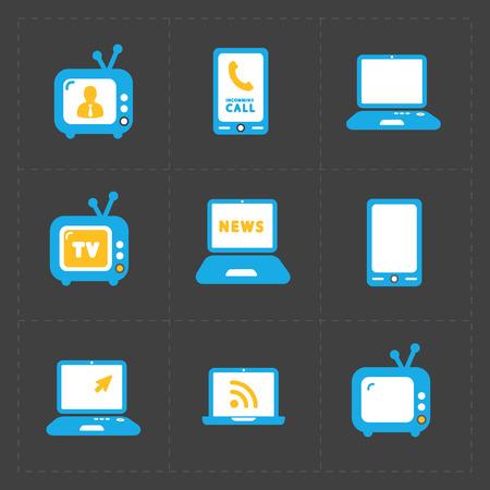 mouse pad: Vector Media Icons set on dark background Illustration