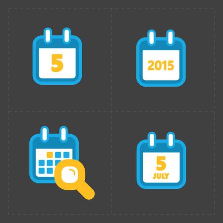 calender icon: Vector Colorful Calendar Icons on dark