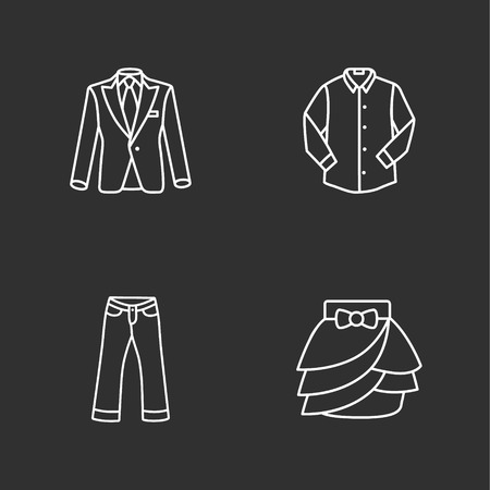 skirt suit: four modern clothes icons Illustration