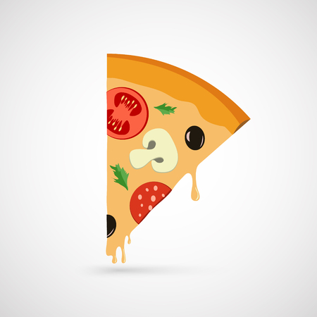 italian sausage: vector  piece of pizza icon on white