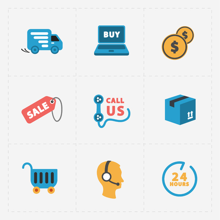 us coin: Modern colorful shop icons on black