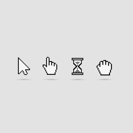 cursors: Pixel cursors icons on white.Vector Illustration. Illustration