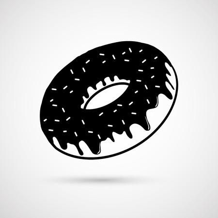 donut: Chocolate donut. Vector illustration Illustration