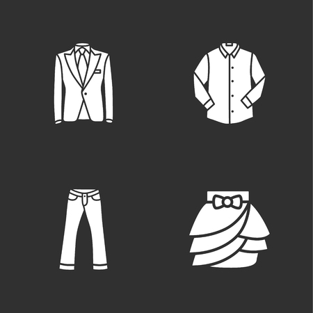 folded clothes: four modern clothes icons Illustration