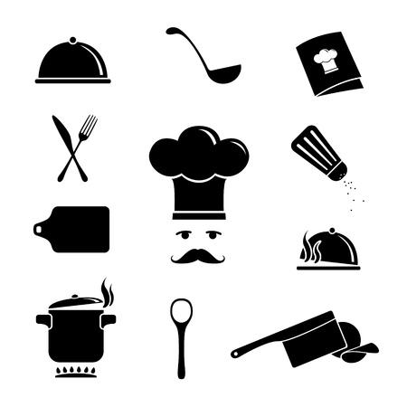 cuchillo de cocina: Set de iconos de la cocina