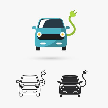 cables electricos: Icono del coche eléctrico Vectores