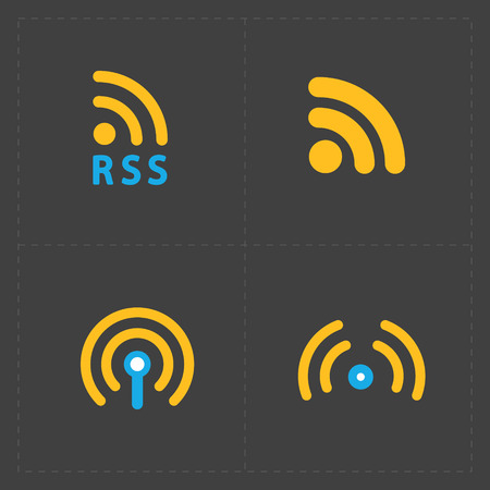 rss feed: RSS sign icons. RSS feed symbols on Black Background. Illustration